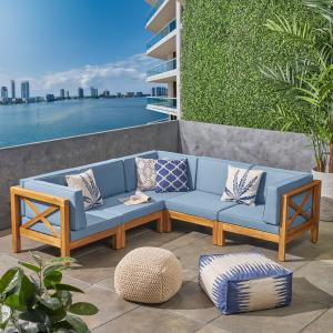 Elisha Outdoor 5 Piece Acacia Wood Sectional Sofa Set with Cushions, Teak, Blue