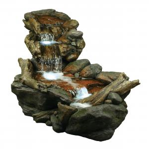 Alpine Corporation Outdoor 3-Tier Rainforest Rock Water Fountain with LED Lights