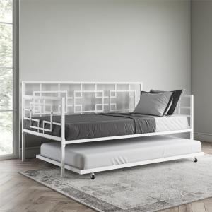 Better Homes & Gardens Twin Daybed with Twin Trundle, White Metal