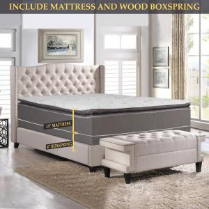 GOWTUN, 12-Inch Soft Foam Encased Hybrid Pillowtop Innerspring Mattress And 4-Inch Low Profile Fully Assembled Wood Boxspring/Foundation Set, King Size