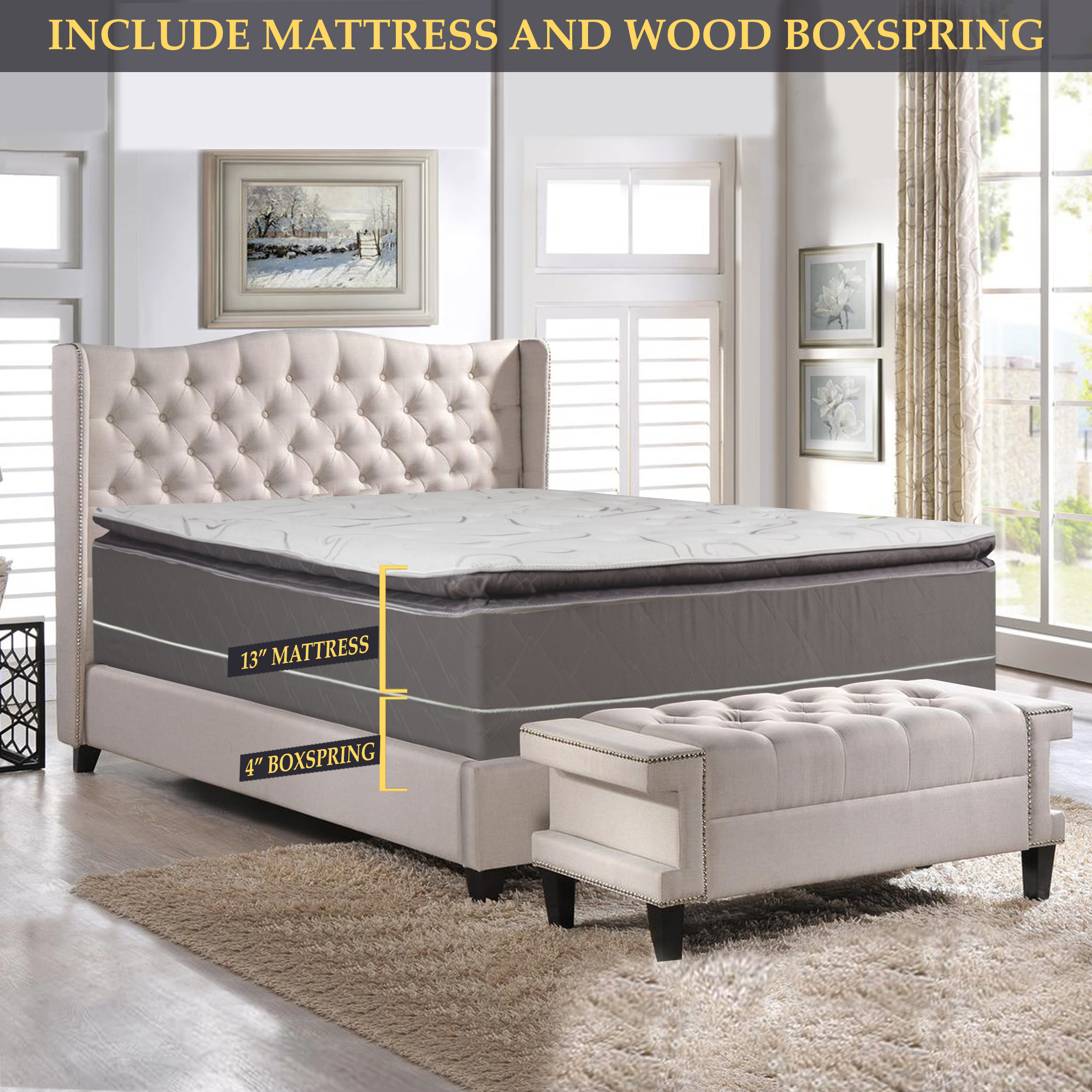 GOWTUN, 12-Inch Soft Foam Encased Hybrid Pillowtop Innerspring Mattress And 4-Inch Low Profile Fully Assembled Wood Boxspring/Foundation Set, Queen Size