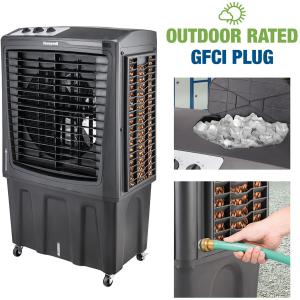 Honeywell Outdoor Rated Portable Evaporative Swamp Cooler & Fan, ETL Certified Outdoor-Safe with GFCI cord, 2800 CFM, Gray