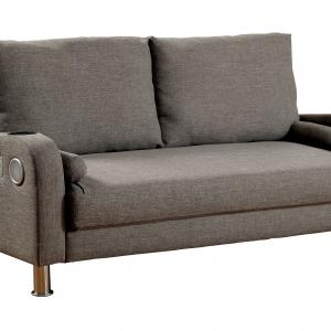 Hayes Contemporary Polyester Futon with Bluetooth, Gray