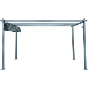 Hanover 13-ft. x 10-ft. Aluminum Pergola with Adjustable Canopy Cover, Dark Gray