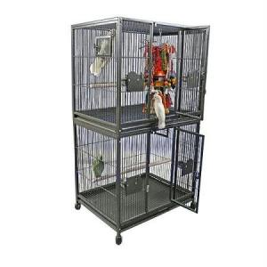 A and E Cage Co. 40″X30″ Double Stack Breeder Cage – Black