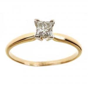 1 Carat T.W. Princess White Diamond 14kt Yellow Gold Solitaire Ring, IGL certified