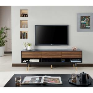 Furniture of America Zuna Mid-Century Multi-Storage TV Cabinet, 70″, Black