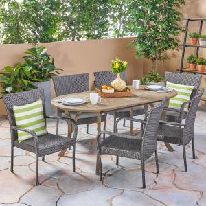 Coraline Outdoor 7 Piece Acacia Wood and Wicker Dining Set, Gray, Gray