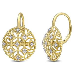 1/5 Carat T.W. Diamond 14kt Yellow Gold Filigree Earrings