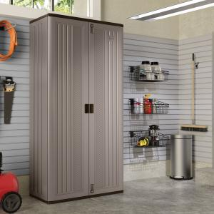 Suncast 80″ Tall Resin Storage Cabinet Locker for Garage, Home, Shed, Gray