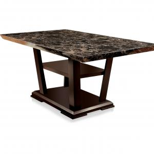 Furniture of America Galecki Marble Top Dining Table With Storage, Counter Height