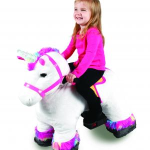 6 Volt Stable Buddies Willow Unicorn Plush Ride-On by Dynacraft with Light Up Horn and Play Stable Included!