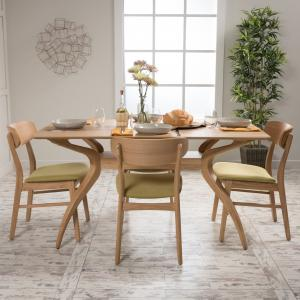 Noble House Harper Natural Walnut Wood Green Tea 5 Piece Dining Set