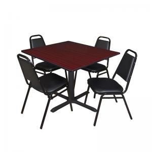 Cain 42″ Square Breakroom Table Multiple Colors and 4 Black Restaurant Stack Chairs, Multiple Colors