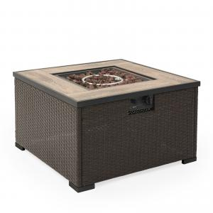 Belham Living Wadeview 31 in. Gas Square Wicker Fire Pit Table
