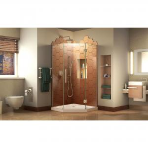 DreamLine Prism Plus 42 in. x 74 3/4 in. Frameless Neo-Angle Shower Enclosure in Brushed Nickel with Biscuit Base