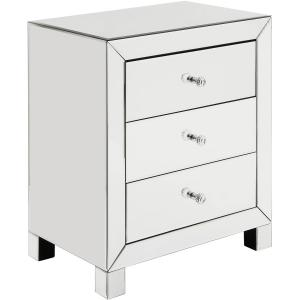 Chelsea Lane Silver Mirrored 3-Drawer Nightstand Side Table