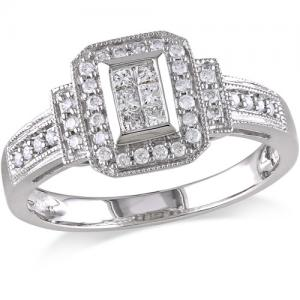 1/3 Carat T.W. Princess and Round-Cut Diamond Engagement Ring in 14kt White Gold