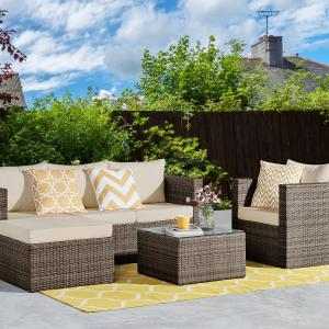 Incadozo 4-Piece All-Weather Patio Seating Group, Dark Brown with Beige Cushions