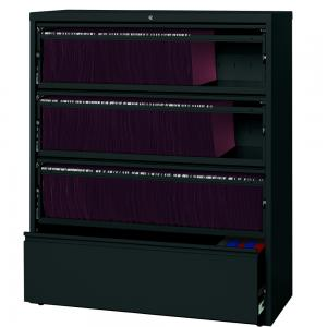 HL10000 Series 42-inch Wide 4-Drawer Lateral File Cabinet with Roll-Out Shelves, Black