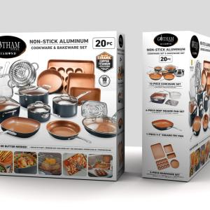 Gotham Steel 20 Piece All in One Kitchen Cookware + Bakeware Set with Nonstick Durable Ceramic Copper Coating – Includes Skillets, Stock Pots, Deep Square Fry Basket, Cookie Sheet and Baking Pans