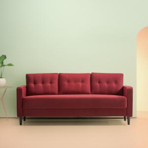 Zinus Mikhail Mid-Century Upholstered 76.4″ Sofa, Ruby Red Weave