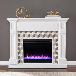 Darvionne Color Changing Fireplace w/ Marble Surround