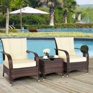 3PCS Outdoor Patio Mix Brown Rattan Wicker Furniture Set with Beige Cushions
