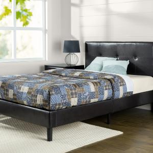 Zinus Kitch 44″ Faux Leather Upholstered Platform Bed Frame, Queen