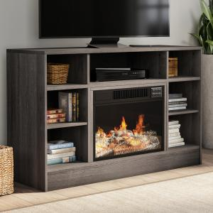 Electric Fireplace TV Stand- For TVs up to 48″ Console with Media Shelves, Remote Control, LED Flames, Adjustable Heat & Light by Northwest (Gray)