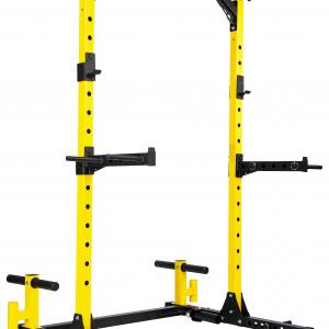 Everyday Essentials 1000-Pound Capacity Multi-Function Adjustable Power Rack Squat Stand with Safety Spotter Arms, Dip Bars, Weight Plate Holders, Barbell Holders and Landmine Attachment