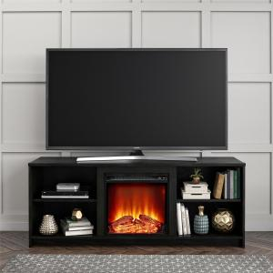 Mainstays Fireplace TV Stand for TVs up to 65″, Black Oak