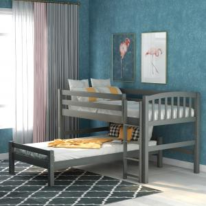 EUROCO Wood Twin Over Twin Bunk Bed Or Twin Loft Bed With One Twin Bed (Gary)