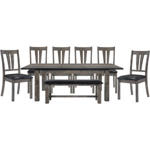 Cambridge Drexel Dining 8-Piece Set – Table, Six Upholstered Chairs and Bench