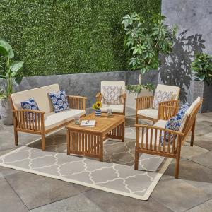Brendon Outdoor 5 Piece Acacia Wood Sofa Set with Cushions, Brown Patina, Cream