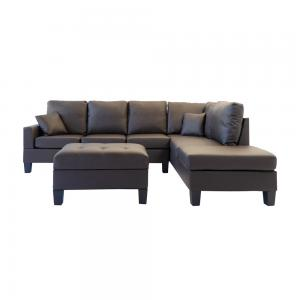 3 Piece Modern Reversible Bonded Leather Sectional Sofa with Storage Ottoman, Brown
