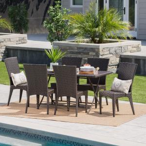 Outdoor 7 Piece Wicker Dining Set with Foldable Table,Multibrown