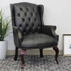 Boss Office Products Black Traditional Style Executive Reception Waiting Room Chair