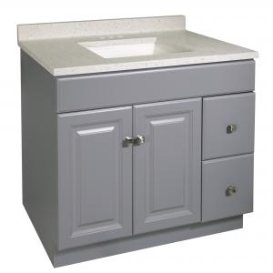 Design House 585372 Wyndham 2-Door 2-Drawer Vanity with Cultured Marble 4 in. Centerset Frost Top, Unassembled, 37×22, Gray