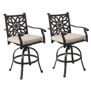 MF Studio Extra Wide Outdoor Patio Pub Height Swivel Bar Stools Cast Aluminum Arms Chairs Set of 2 with Seat Cushion