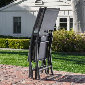 Hanover Fresno 9-Piece Outdoor Dining Set with 8 Folding Chairs and a 42″ x 83″ Glass-Top Table