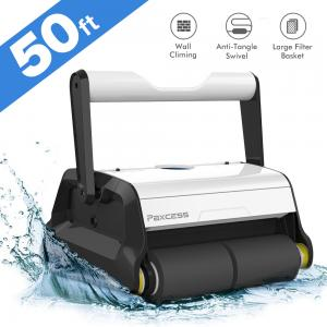 Paxcess Automatic Robotic Pool Cleaner, Wall Climbing Robotic Swimming Pool Cleaner, Ideal for In-ground Swimming Pools up to 50 Feet.