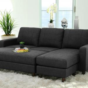Devon & Claire Hamilton Charcoal Fabric Reversible Sectional and Ottoman