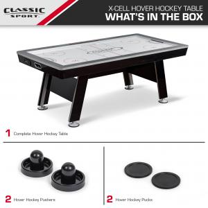 Classic Sport 84″ X-Cell Hover Hockey Table, 2 Pushers and 2 Pucks Included