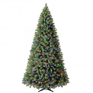 Holiday Time Pre-Lit Woodlake Spruce Quick Set® Artificial Christmas Tree, 9′, Color-Changing LED Lights