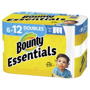 Bounty Essentials Select-A-Size Paper Towels, White, 6 Double Rolls