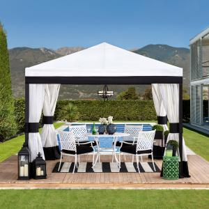 Sunjoy Stockton Collection 10 ft. x 10 ft. Black and White Steel Gazebo with Mosquito Netting