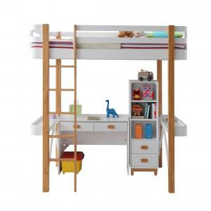 Rutherford Loft Bed in White & Natural
