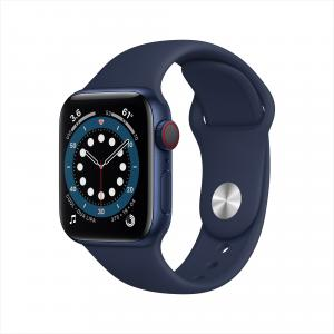 Apple Watch Series 6 GPS + Cellular, 40mm Blue Aluminum Case with Deep Navy Sport Band – Regular