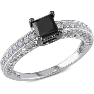 1 Carat T.W. Black and White Diamond 10kt White Gold Milgrain Design Engagement Ring